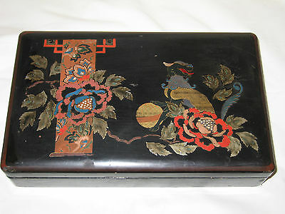 Japanese Antique Lacquer Handpainted Unusual Chi Chi Or Foo Guardian Dog Floral