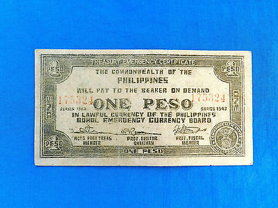 1943 Philippines Emergency Currency 1 Peso Banknote *P-s139b*       *VF-XF*