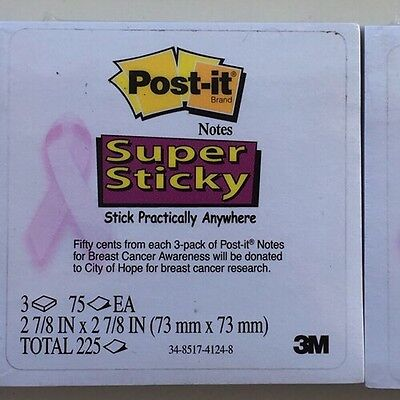 Post It Notes 3 Pack Total White with Pink Ribbon Super Sticky Breast Cancer