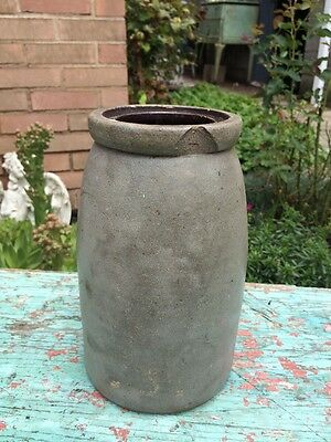 Antique Crock Primitive Stoneware Pottery Circa 1800's Salt Glazed #2
