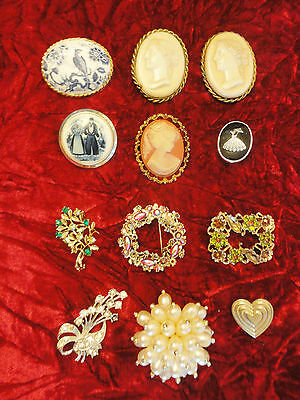 Job Lot Of Vintage/Retro Cameo, AYNSLEY Fine Bone China  & Other Brooches