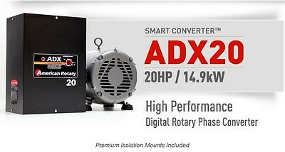 American Rotary Phase Converter ADX20 20HP Digital Smart Series Extreme Duty USA