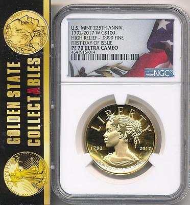 """2017 W Liberty 225th Ann Gold FIRST DAY  NGC PF70UCAM """"FLAG"""" LABEL - SOLD OUT"""