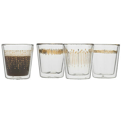 NEW Ecology Comet Set 4 Espresso Double Wall Glass