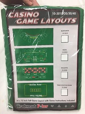 Trademark Poker Casino 36 x 72 in Felt Game Layout with Game Instructions |
