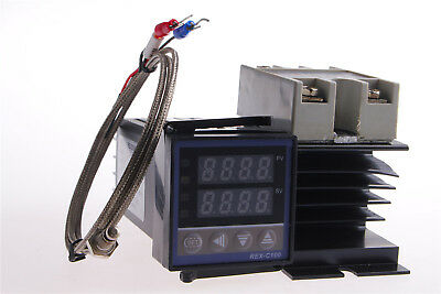 REX-C100 PID Temperature Control & 40A SSR & K Thermocouple & Probe Heat Sink