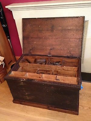 Victorian Carpenters Tool Chest Box Fitted Interior Antique Old Vintage Tools