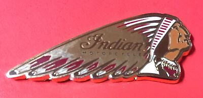 "Indian Motorcycle ""warbonnet"" Pin ~ 1 1/2"" ~ Red, Gold & Black ~ Pinch Clips"