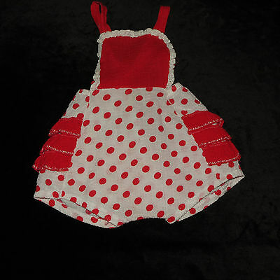 Vintage Red & White Polka-Dot Ruffle Butt Bubble Romper Sunsuit Approx  0-6 M