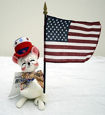 """2005 Annalee Collector's Item 6"""" Patriotic Boy Mouse with Tags"""