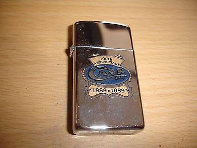100 Year Anniversary For Case Xx Knives Co 1989 Slim Zippo Lighter Nos Mint