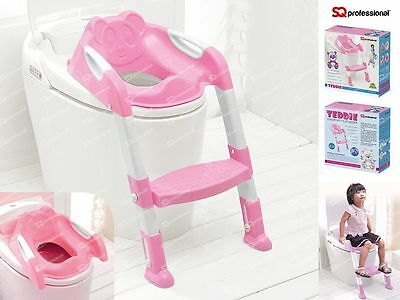 Child Toddler Kids Toilet Potty Trainer Training Chair Step Up Ladder Bear, Pink
