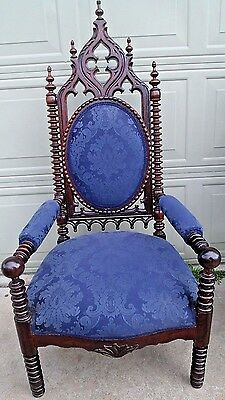 GOTHIC ROSEWOOD 1860-1910 Upholstered Arm Throne Chair Turned Wood Back & Legs
