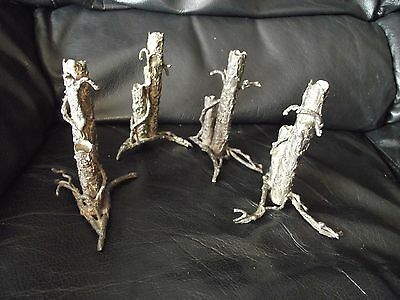 Four Matching Spelter Bud Vases Tree Bark Branches Pattern