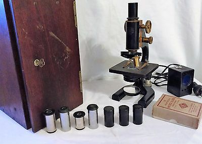 Spencer Lens Co. Microscope Model #49778 with Wooden Case and Accessories