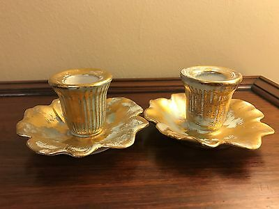 Pair Vintage Stangl Art Pottery 'Antique Gold' 22KT Gold Candle Holders #5138