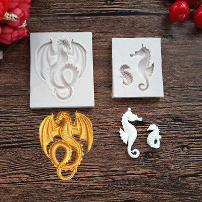 Sea Horse Dragon Silicone Fondant Mould Cake Chocolate Gumpaste Sugarcraft Mold