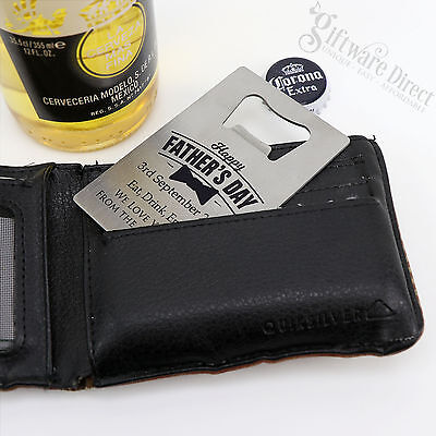Engraved Fathers Day Credit Card Stainless Steel Bottle Opener Personalised Gift