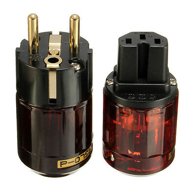 1 Pair IEC Audio Connector C-079 P-079e Schuko Europe EU Power Plug Gold Plated