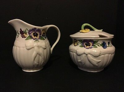 Belleek Enchanted Garden Pansy Violet Floral Ribbon Creamer And Sugar Bowl