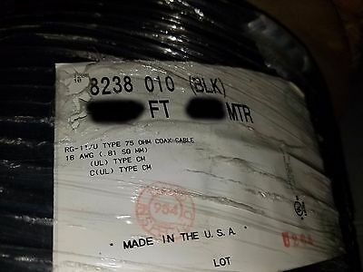 Belden 8238 RG-11/U 75 Ohm 18awg Stranded Tinned Copper Coaxial Cable Black/25ft