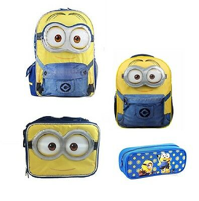 "Minions Bob 12"" 16"" School Backpack Lunch Book Bag Pencil Case Combo Set"