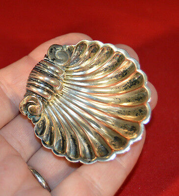 Silverplate or Silver English Scolled Shell Open Salt Dish - Tarnished