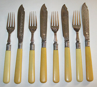 8pcs Antique Silverplate Fish Set Forks Knives W. Bros England Celluloid Etched