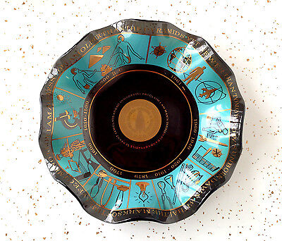 Vintage Mid Century Glass Dish Atomic Space Age Bottle Blowers Gold Turquoise