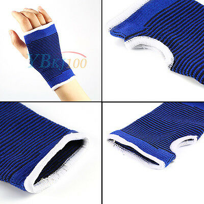 Wrist Hand Support Glove Bandage Gym Wrap Protector Elastic Sports Palm Blue