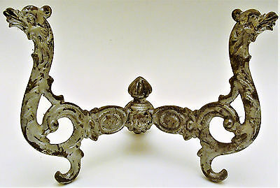 Antique Fancy Victorian Cast Iron Double Hat Coat Hook Griffon Gryffon 3 avlb