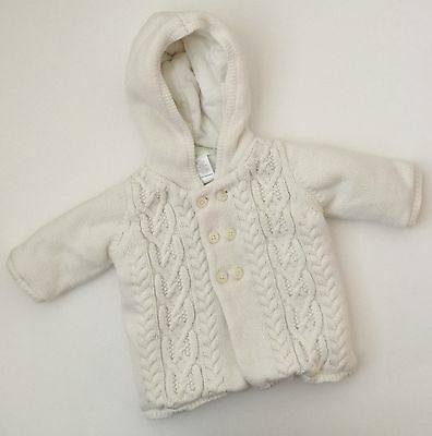 Janie & Jack Boys White Hooded Cable Knit Sweater Girls Unisex Size 0-3 Months