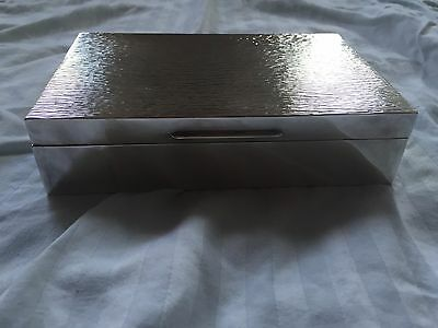 Solid English sterling silver cigaretter box with machine turned top