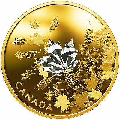 Canada 2017 Whispering Maple Leaves Breeze $50 3 Oz Silver Reverse Gold Plated