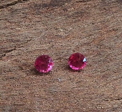 ROUND SHAPE NATURAL RUBY PAIR 2x 3MM CUT AAA GEMSTONE
