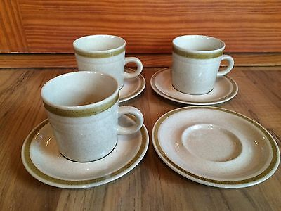 Set Of 8 Vintage Country Living Stoneware Saucers & 7 Cups Woodhue Japan