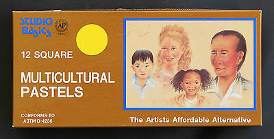 12 Multicultural Portrait Soft Pastels for Artists, Quality Square Vibrant