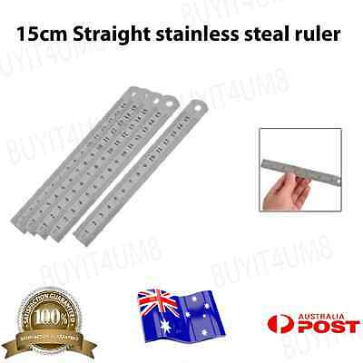 """2x 15cm Stainless Steel Pocket Measuring Ruler Scale Rule Two Sided Metric 6"""""""