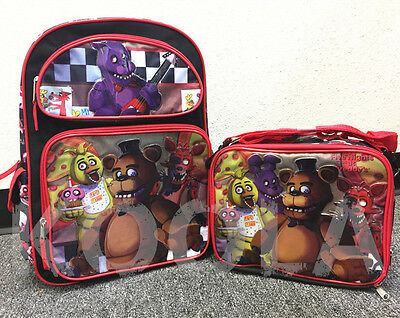 "Five Nights at Freddy's 16"" Large Backpack & Lunch bag 2 pcs Boys Bag NEW"