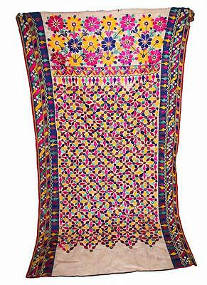 "Antique 65"" X 37"" Banjara Embroidery Throw Rabari Wall Tapestry Tribal Hanging"