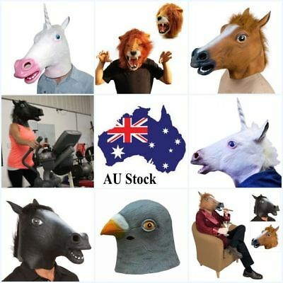 Animal Head Face Mask Halloween Latex Rubber Costume Party Horse Lions Unicorn
