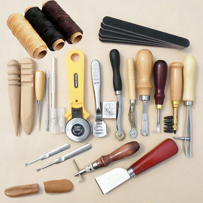 23pcs Leder Werkzeug Leather Craft Hand Sewing Stitching Groover Tool Kit Set