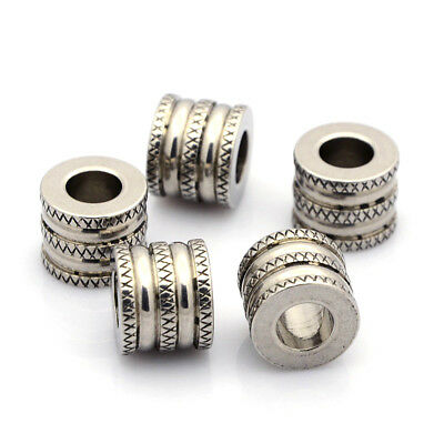 10pcs 304 Stainless Steel Beads Grooved Column Decorative Large Hole Spacer 12mm