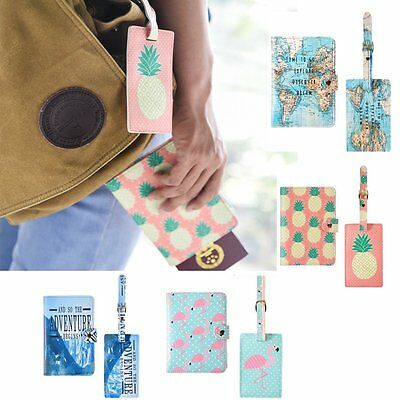 2x Passport Cover Wallet Card Holder + Luggage Tags Name Address ID Label Travel