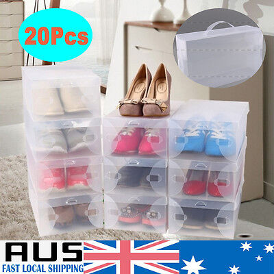 20Pcs Shoe Storage Cases Stackable Foldable Clear Boxes Home Wardrobe Hold Bulk