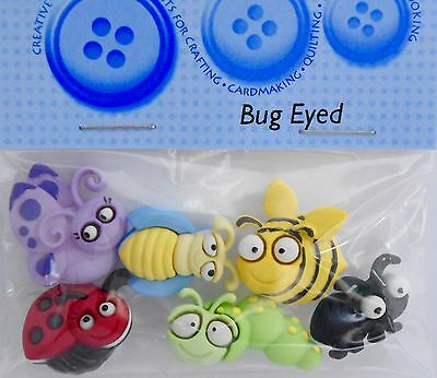 JESSE JAMES DRESS IT UP Novelty Buttons BUG EYED Insects Craft Embellishment