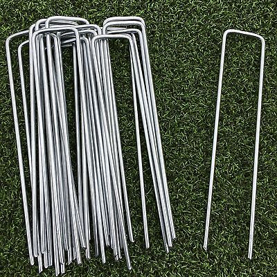 50 Pack Artificial Grass Turf U Pins Galvanised Metal Pegs Staples Weed Garden