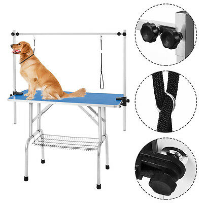 44'' Portable Pet Dog Grooming Table Adjustable H Loop 2 Arm Non Slip Tabletop