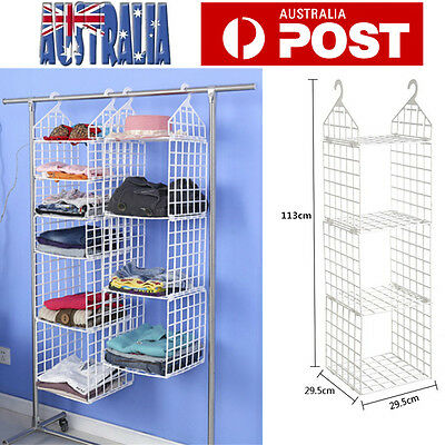 Wardrobe Hanger DIY Hanging Closet Organizer Clothes Shelf Rack 3 Layers White