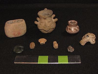 Pre Columbian, SMALLS,  Mayan, Mezcala, N. American, Stone/Pottery Artifacts